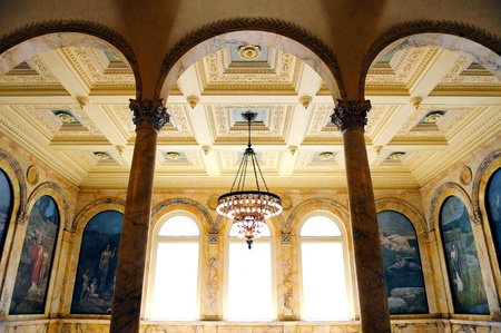 public library: Boston city public library interior with beautiful decoration and ceiling lamp in old fashion style.