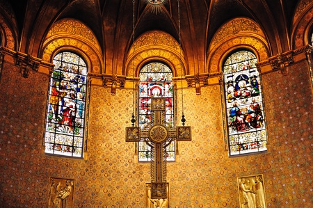 church architecture: Cross in Boston Trinity Church interior view with beautiful pattern and decoration. Editorial