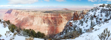 Grand Canyon panorama view in winter with snow and clear blue sky. Stock Photo - 11576217