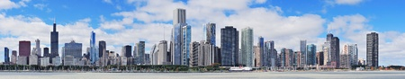 willis: Chicago city urban skyline panorama with skyscrapers over Lake Michigan with cloudy blue sky. Stock Photo