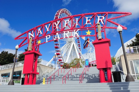 CHICAGO, IL - Oct 1: Navy Pier and skyline on October 1, 2011 in Chicago, Illinois. It was built in 1916 as 3300 foot pier for tour and excursion boats and is Chicagos number one tourist attraction. Editorial
