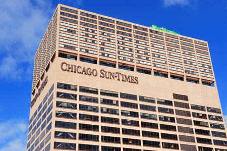 continuously: CHICAGO, IL - Oct 1: Chicago Sun-Times Building closeup on October 1, 2011 in Chicago, Illinois. It began in 1844 and is the oldest continuously published daily newspaper in the city of Chicago.