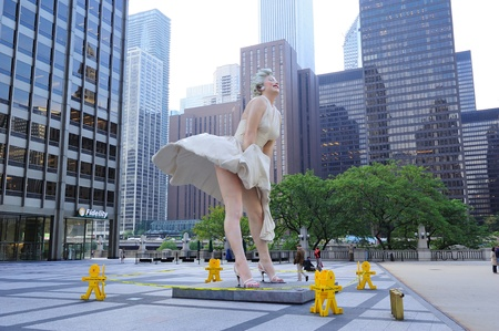 monroe: CHICAGO, IL - Oct 1: Marilyn Monroe Statue closeup in Pioneer Court Plaza on October 1, 2011 in Chicago, Illinois. The plaza is famous for unusual public art displays and landmark attractions. Editorial