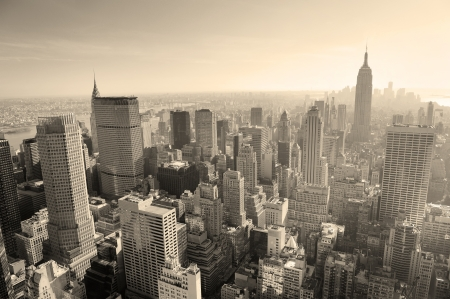 New York City skyline black and white in midtown Manhattan aerial panorama view in the day. Stock fotó