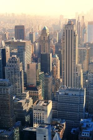 New York City skyscrapers in midtown Manhattan aerial panorama view at sunset.