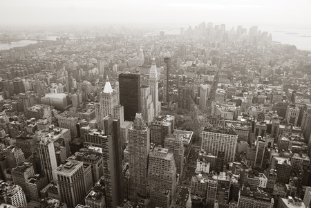 New York City Manhattan skyline aerial view black and white with skyscrapers and street. photo