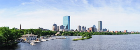 Boston back bay panorama with sailing boat and urban building city skyline in the morning.  photo