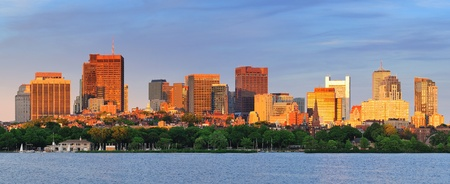Boston Charles River sunset panorama with urban skyline and skyscrapers  photo