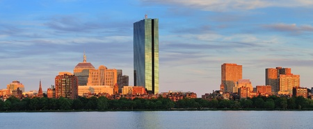 hancock building: Boston Charles River panorama with urban city skyline at sunset
