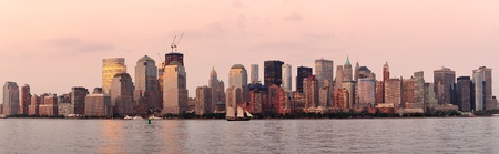 New York City Manhattan downtown skyline at sunset over Hudson River panorama Stock Photo - 12000308