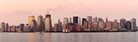 New York City Manhattan downtown skyline at sunset over Hudson River panorama Stock Photo - 12000308