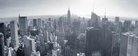 skyscraper: New York City skyline black and white in midtown Manhattan aerial panorama view in the day. Stock Photo