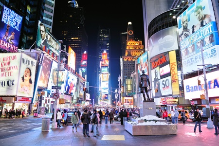 time square: NEW YORK CITY, NY - JAN 30: Times Square is featured with Broadway Theaters and LED signs as a symbol of New York City and the United States. January 30, 2011 in Manhattan, New York City.