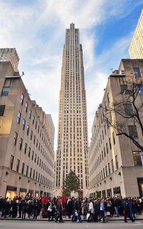 declared: NEW YORK CITY, NY, USA - DEC 30: Rockefeller Center in the day on December 30, 2011 New York City. It was built by the Rockefeller family in 1939 and was declared a National Historic Landmark in 1987.