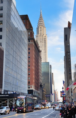 42nd: NEW YORK CITY, NY, USA - DEC 30: Chrysler Building in the day with street on December 30, 2011, New York City. It was designed by architect William Van Alena as Art Deco architecture in US. Editorial