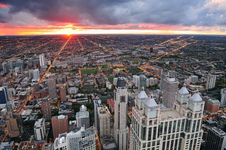 chicago skyline: Chicago skyline panorama aerial view with skyscrapers and cloudy sky at sunset.