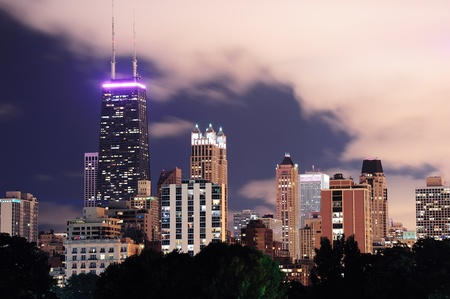 Chicago city urban skyscraper at night viewed from Lincoln Park. photo