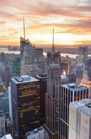 Urban New York City skyscrapers at sunset. photo