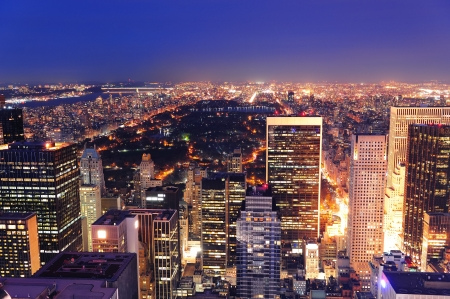 aerial: New York City Central Park panorama veduta aerea di notte. Archivio Fotografico