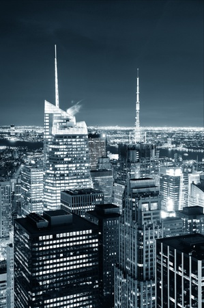 New York City skyline aerial view at dusk with skyscrapers of midtown Manhattan in black and white. photo