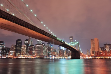 New York City Brooklyn Bridge with downtown skyline over East River. photo