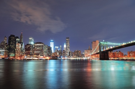 New York City Brooklyn Bridge panorama with downtown skyline