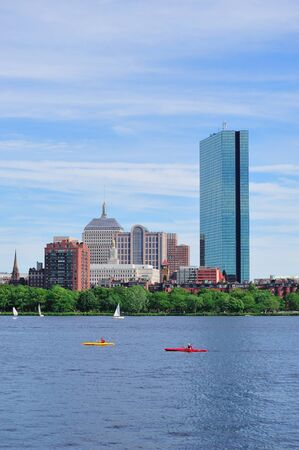 hancock building: Boston Charles River with urban city skyline Hancock building and boat.