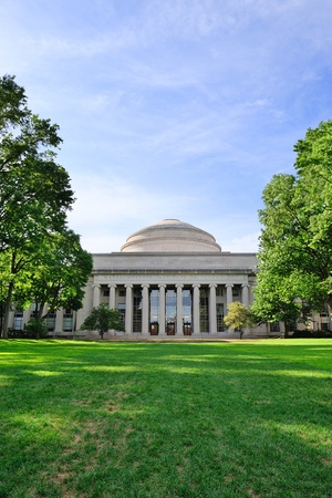 Boston Massachusetts Institute of Technology campus with trees and lawn Editorial