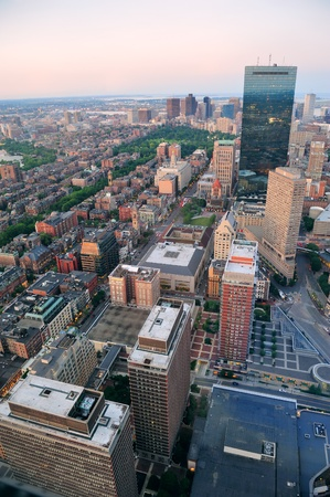 Urban city aerial view. Boston aerial view with skyscrapers at sunset with city downtown skyline. Stock Photo - 12571490
