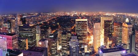 뉴욕시 센트럴 파크는 밤에 공중보기를 파노라마. 스톡 콘텐츠