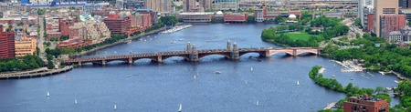 river: Boston Charles River aerial view with buildings and bridge.