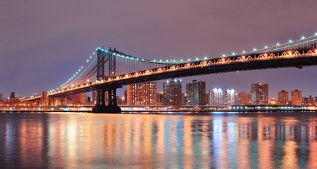 New York City Manhattan Bridge closeup with downtown skyline over East River. Stock Photo - 12574932