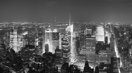 New York City Manhattan Times Square skyline aerial view panorama black and white with skyscrapers and street.