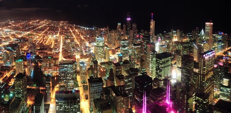 Chicago downtown aerial panorama view at night with skyscrapers and city skyline at Michigan lakefront.  Stock Photo - 12574891
