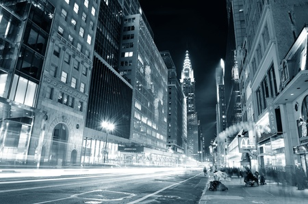 NEW YORK CITY, NY, USA - DEC 30: Chrysler Building at night with street on December 30, 2011, New York City. It was designed by architect William Van Alena as Art Deco architecture in US. Stock Photo - 12559747