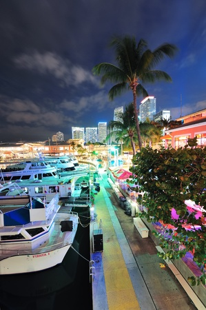 MIAMI, FL - FEB 8: Bayside Marketplace at night on February 8, 2012 in Miami, Florida. It is a festival marketplace and the top entertainment complex in Downtown Miami attracting 15M people annually. Stock Photo - 12559711
