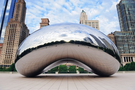 chicago skyline: CHICAGO, IL - Oct 6: Cloud Gate and Chicago skyline on October 6, 2011 in Chicago, Illinois. Cloud Gate is the artwork of Anish Kapoor as the famous landmark of Chicago in Millennium Park.