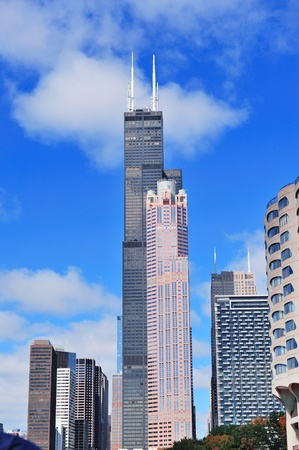 willis: CHICAGO, IL - Oct 1: Willis tower close up on October 1, 2011 in Chicago, Illinois. Willis Tower know as the famous landmark is 1451 feet high as the worlds tallest for 25 years since its completion.
