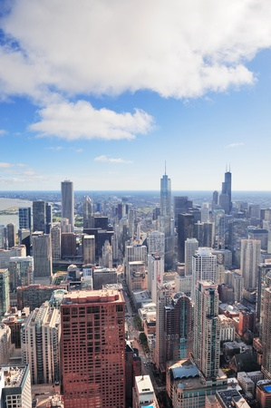 Chicago urban skyline panorama aerial view with skyscrapers and cloudy sky  photo
