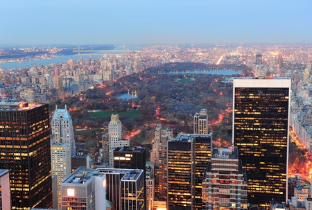 panoramic roof: New York City Central Park at dusk.