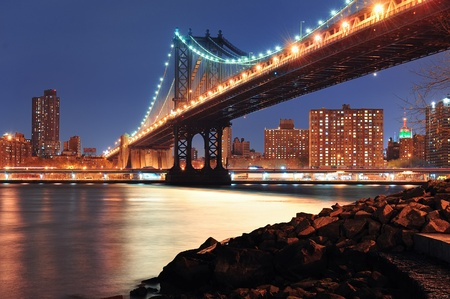 New York City Manhattan Bridge closeup with downtown skyline over East River. Stock Photo - 12574284