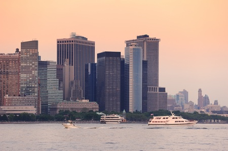 New York City Manhattan downtown skyline at sunset over Hudson River panorama Stock Photo - 12574213