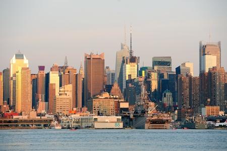 weehawken: New York City sunset panorama with Manhattan skyline viewed from New Jersey.