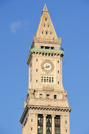 clock tower: Boston Custom House Clock Tower in downtown. Stock Photo