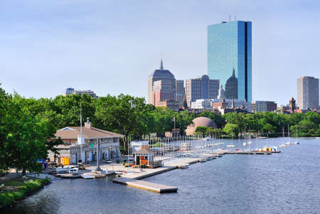 back bay: Boston back bay with sailing boat and urban building city skyline in the morning.