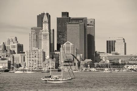 ma: Boston downtown architecture closeup in black and white over sea. Editorial