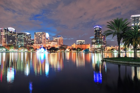 Orlando downtown skyline over Lake Eola at dusk with urban skyscrapers and lights. Stock Photo - 12574204