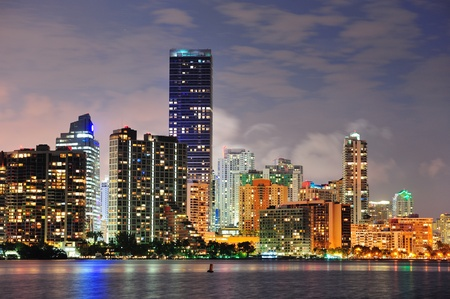 Miami urban architecture closeup over sea at night. Stock Photo - 12574173