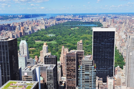 midtown manhattan: New York City Manhattan midtown aerial panorama view with skyscrapers and central park in the day.