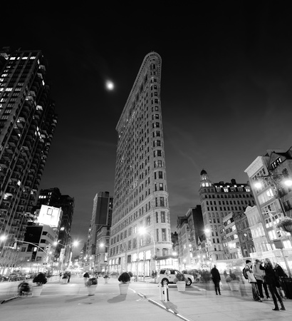 burnham: NEW YORK CITY, NY - DEC 30  Flatiron Building at night on March 30, 2011 in New York City  Flatiron building designed by Chicago s Daniel Burnham was designated a New York City landmark in 1966  Editorial